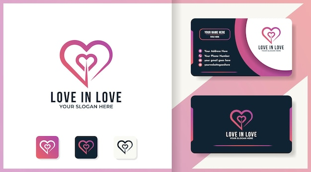 Love in love logo template and business card design