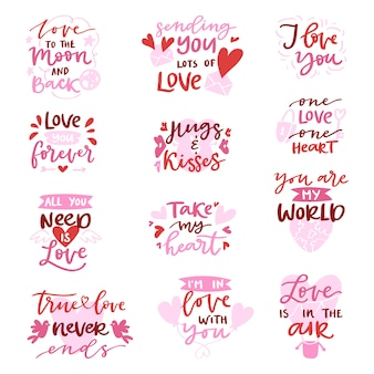 Love  lovely calligraphy lovable lettering iloveyou quote with heart sign for lover on valentines day beloved card illustration isolated on white background