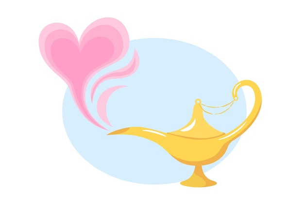 Love magic lamp. aladdin's golden genie lamp and pink smoke in the shape of a heart in cartoon style