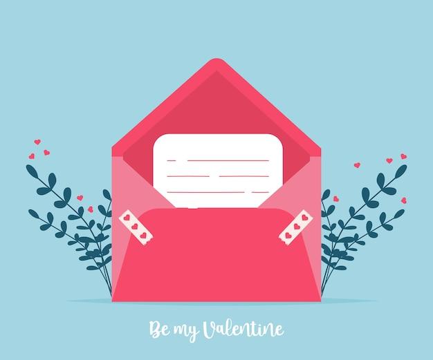 Любовная почта с валентинкой. люблю тебя конверт бумажной карты. романтический праздник день святого валентина. приглашение на подарочную карту.