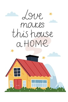 Love makes this  house a home red house on a beautiful lawn cozy atmosphere light in the window starry summer sky Premium Vector