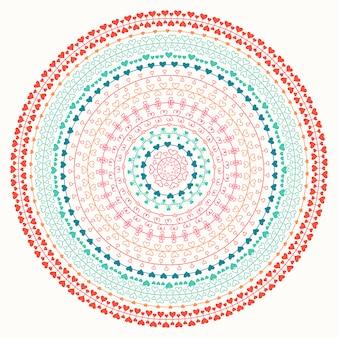 Love mandala circle with hearts.