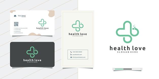 사랑 의료 로고 디자인 플러스 심장 및 명함