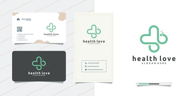 Love medical logo design plus heart and business card