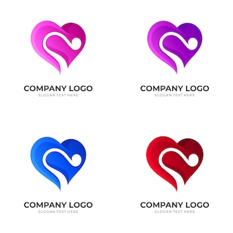 Love and melody logo design template with 3d colorful style