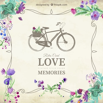 Love memories card with vintage bicycle