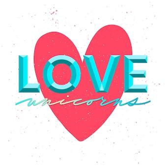 사랑 인어 독특한 글자. 손으로 그린 귀여운 인용문 사랑 인어가 있는 카드