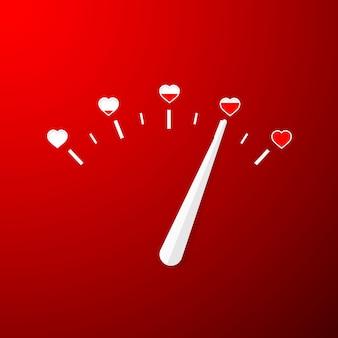 단순한 평면 스타일의 사랑 측정기.