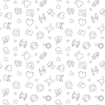 Love  minimal outline seamless pattern