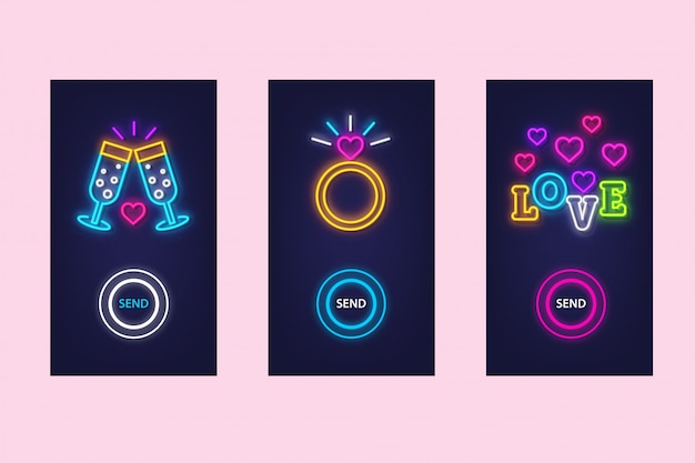 Love mobile app set with neon glow. virtual love. ui design.