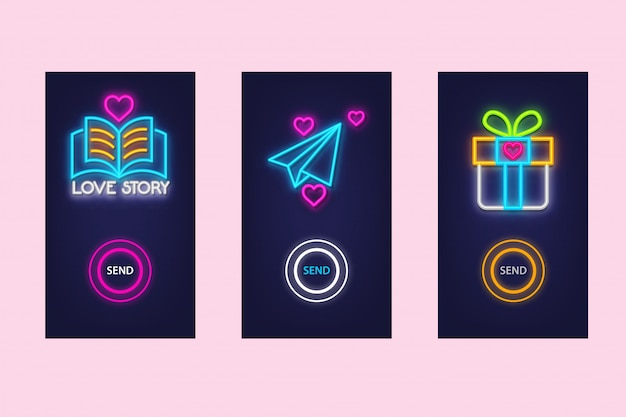 Love mobile app set with neon glow. virtual love.