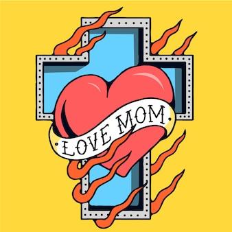 Love mom cross old school tattoo vector