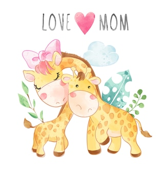 Любовь мамы лозунг с иллюстрацией шаржа матери и сына жирафа