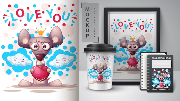 Love mouse poster and merchandising