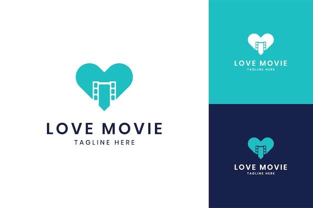Love movie negative space logo design