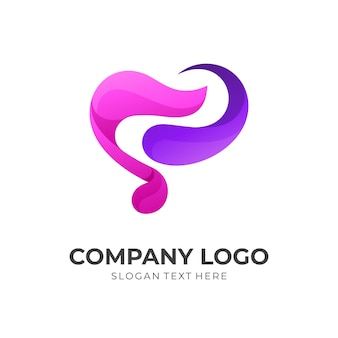 Love music logo design, heart and music, combination logo with 3d purple and pink color style