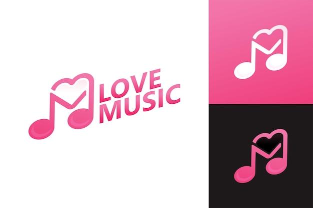 Love music logo template premium vector