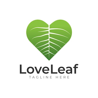 사랑 자연 크리에이 티브 로고 디자인 템플릿입니다. 간단한 녹색 잎과 심장 모양 기호입니다. 생태 개념입니다. 자연 보호.