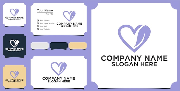 Love nature logo designs template and business card