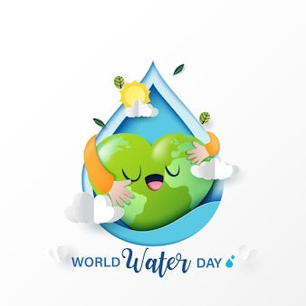 Love nature and save water for ecology and environment conservation concept design.