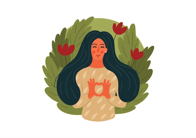Любите природу. женщина делая форму сердца с предпосылкой зеленых листьев.
