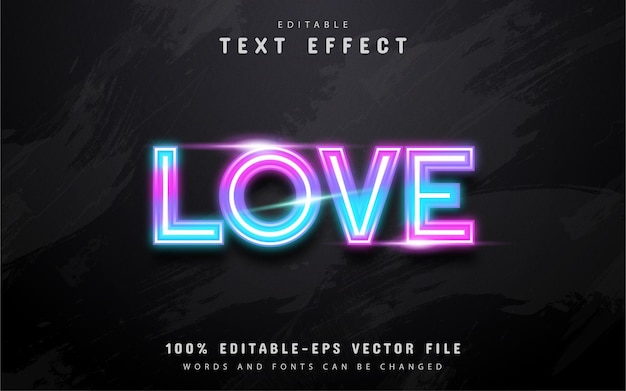 Love neon colorful text effect