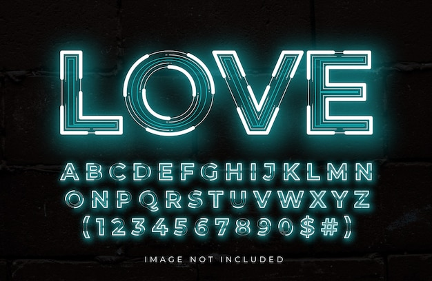 Love neon editable text effect