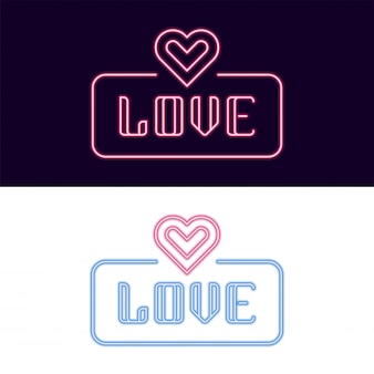 Love neon font with heart icon