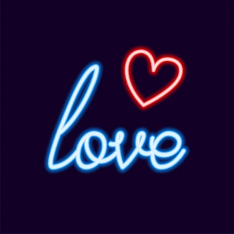 Love neon font with icon, 80s text letter glow light retro techno acid style.