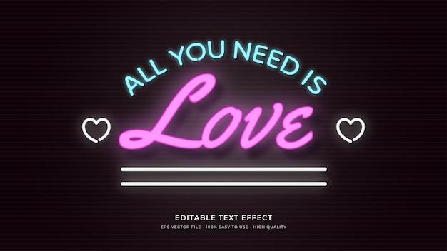 사랑 네온 빛 타이포그래피 편집 가능한 텍스트 효과