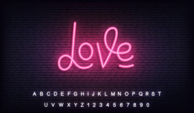 Love neon, love neon glowing lettering sign for valentines day