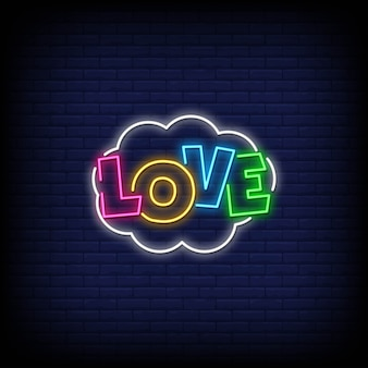 Любовь неоновые вывески стиль текста