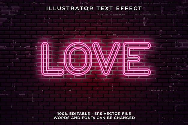 Love neon text effect
