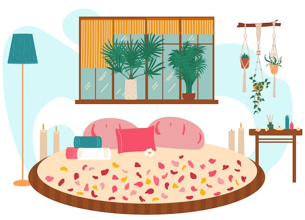 Love nest, big bed, massage, spa, lovely room for relax,   illustration. romantic place decor rose petal, towel, blossom.