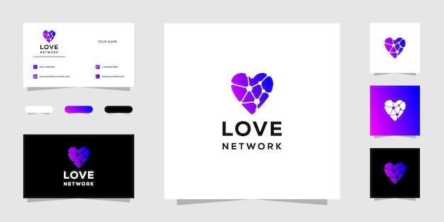 사랑 네트워크 로고 디자인 서식 파일 및 명함