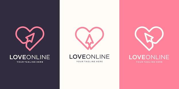 オンライン愛、ハート線画と組み合わせたカーソル、ロゴデザインテンプレート