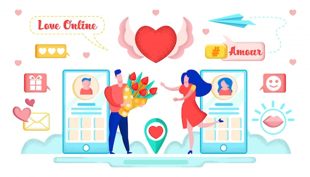 Love online, virtual relationship, internet dates.