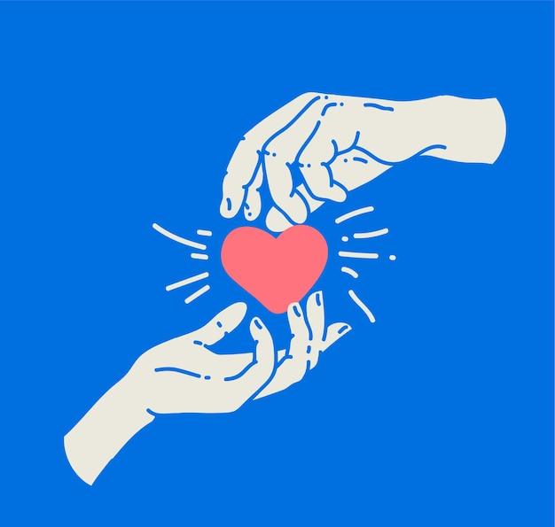 赤いハートを持っている男性の手と女性の手との愛やサポートまたはカップルの関係の概念