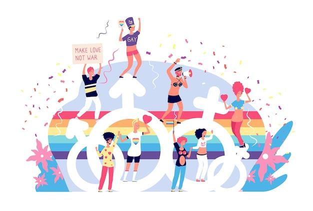 Парад любви. радужный лгбтк-активизм и законы о бисексуальности. гей, лисбианцы и транс счастливые праздничные векторные концепции. парад иллюстраций геев и лесбиянок, гордость лгбт свободы