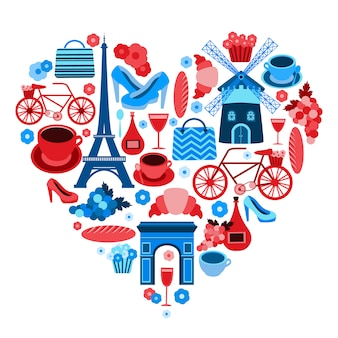 Love paris heart symbol with icons set isolated