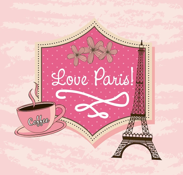 Love paris with tower eiffel and coffee