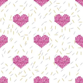 반짝이 하트와 사랑 패턴