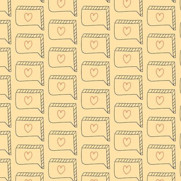Love pattern with hand drawn bubble chat