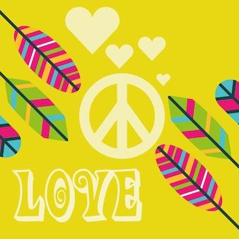 愛の平和サイン羽の装飾自由な精神