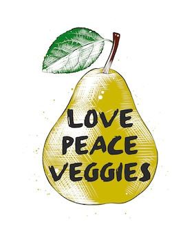 Love, peace, veggies with sketch of pear.
