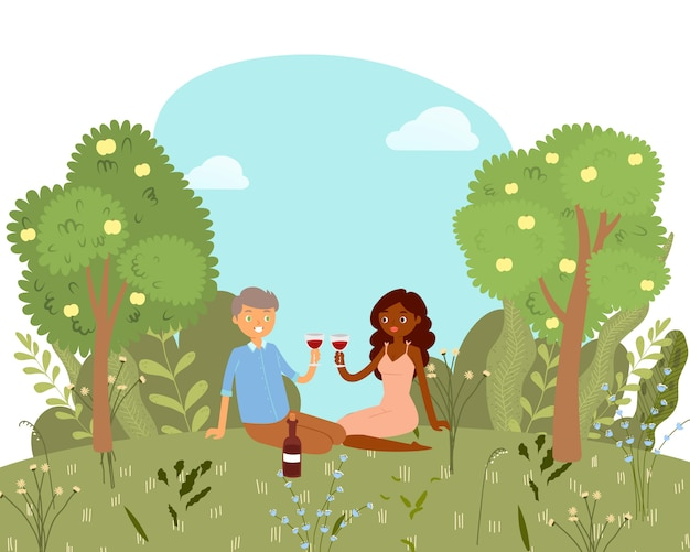 Love picnic for happy couple with wine in park, nature outdoor, romantic date cartoon   illustration. valentine's day card.