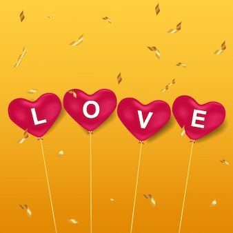 Love in pink heart balloons
