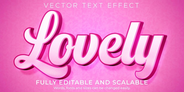 Love pink text effect, editable light and soft text style Premium Vector