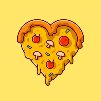 Love pizza cartoon icon illustration.
