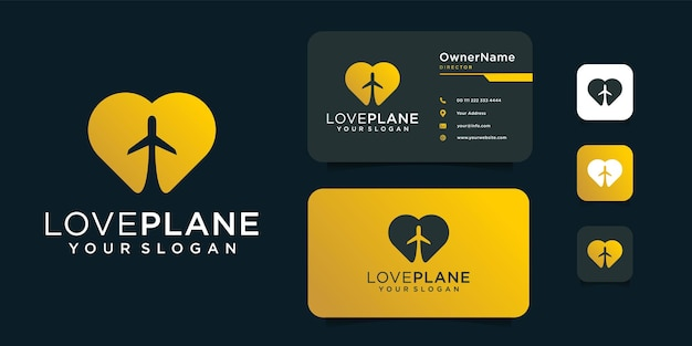 Love plane logo design with business card template.